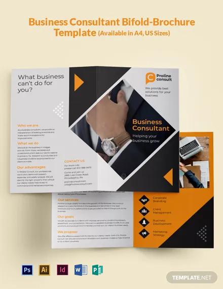 Business Consultant Bi-Fold Brochure Template