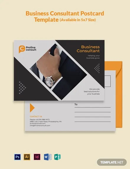 Free Business Consultant Postcard Template
