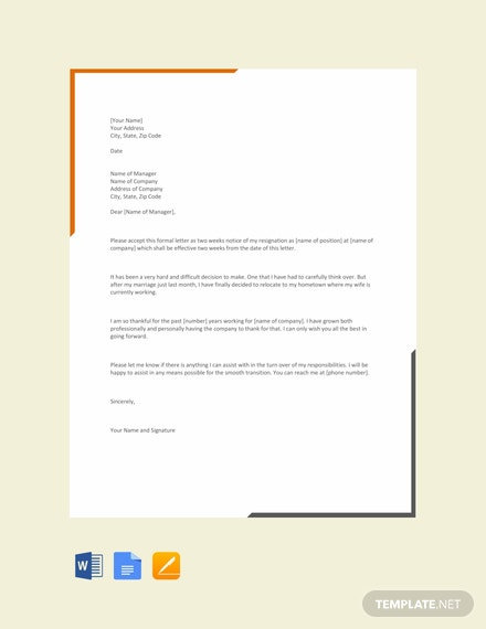 Free Simple Two Weeks Notice Letter