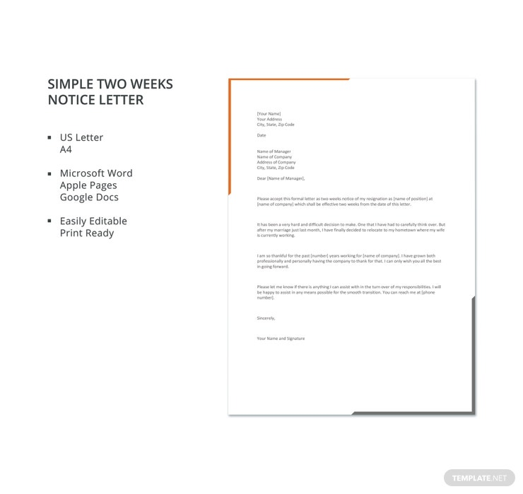 simple two weeks notice letter 740x698