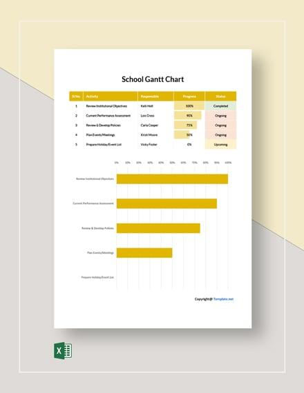 Free Simple School Gantt Chart Template