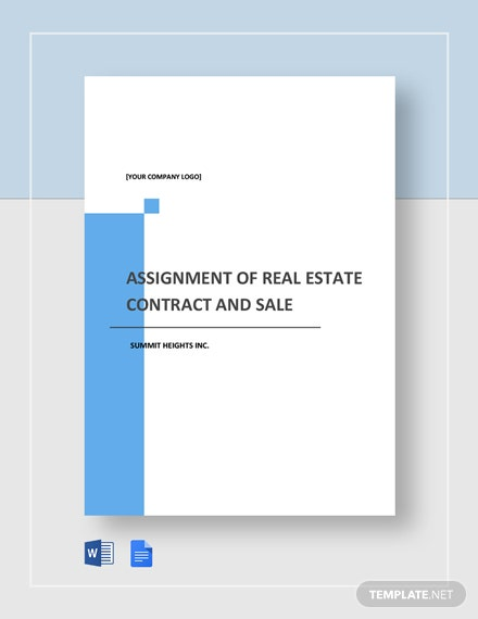 Assignment of Real Estate Contract and Sale Agreement Template