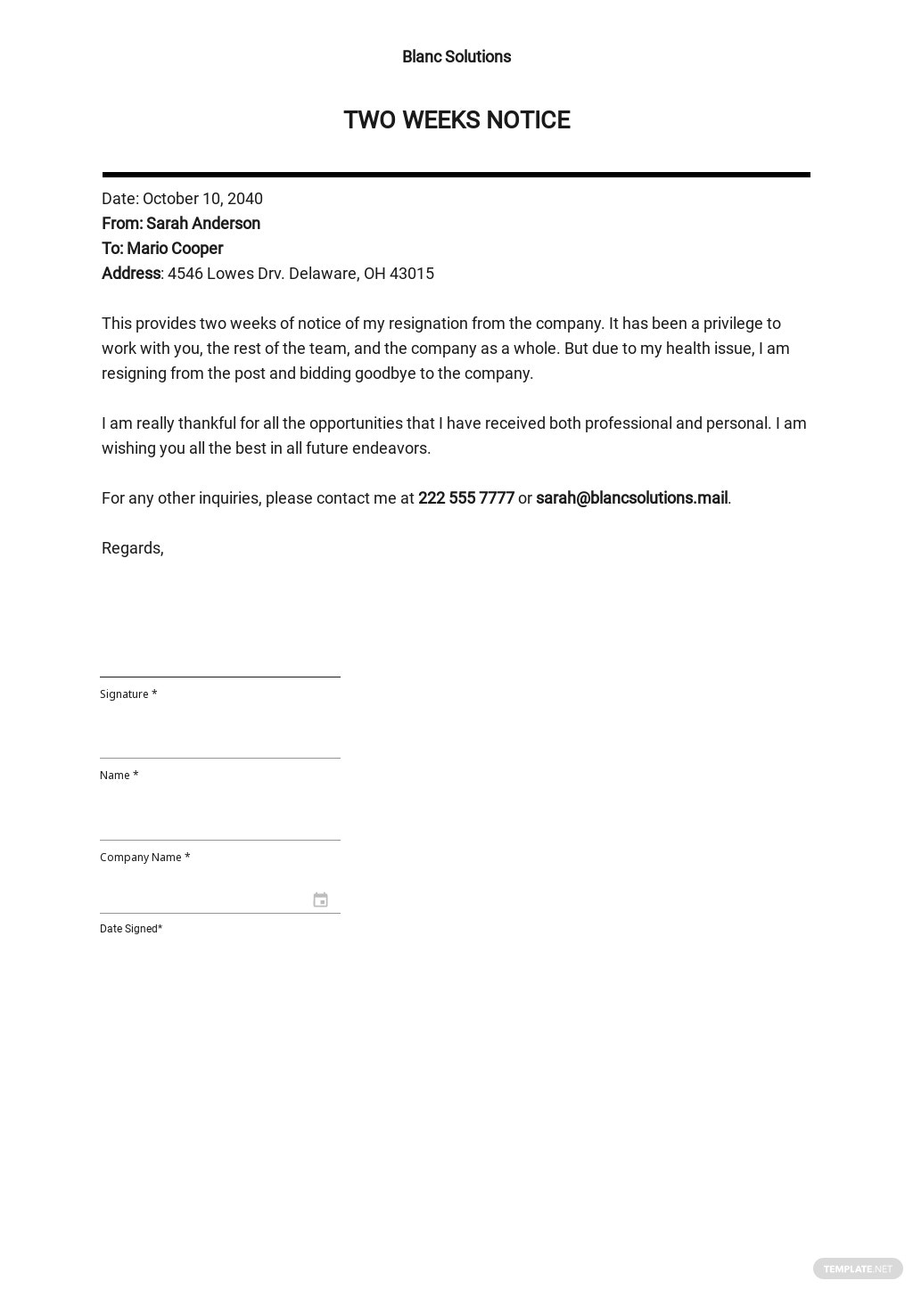 Two Weeks Notice Example Template