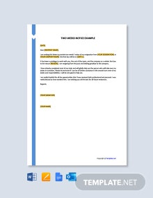 Free Two Weeks Notice Example