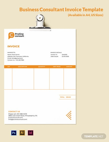 Business Consultant Invoice Template