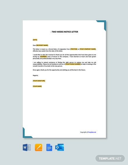 Free Two Weeks Notice Letter