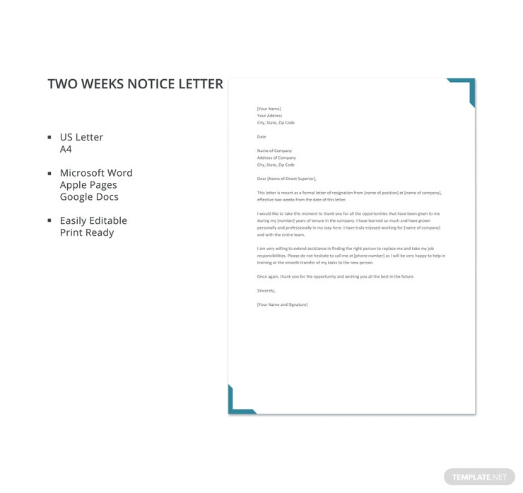 two weeks notice letter 740x698