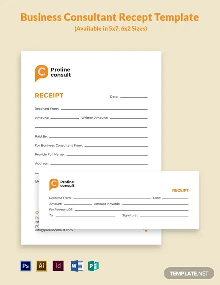 Business Consultant Receipt Template
