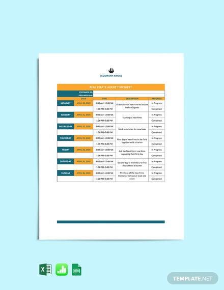 Weekly Real Estate Timesheet Template