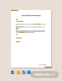 Free Sales Letter Sample for New Product