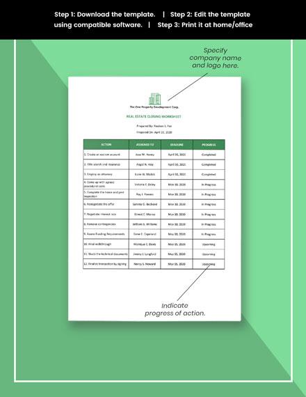 Real Estate Closing Worksheet Template format
