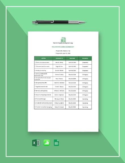 Real Estate Closing Worksheet Template