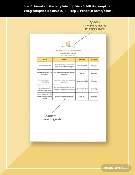 Real Estate Goal Setting Worksheet Template format