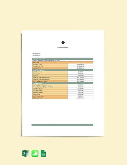 Real Estate Sale Worksheet cover