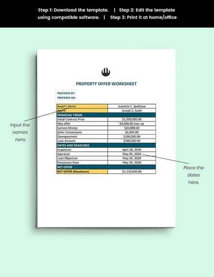Property Offer Worksheet guide