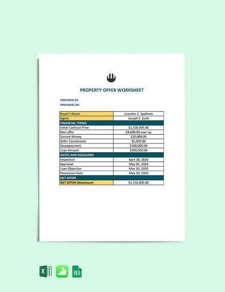 Property Offer Worksheet cover