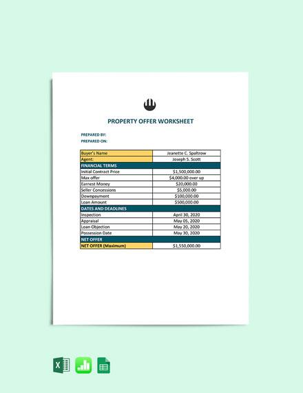 Property Offer Worksheet Template