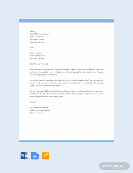 Free Sales Letter Template For Promoting A Service Download 1440