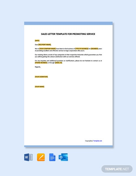 Free Sales Letter Template for Promoting a Service