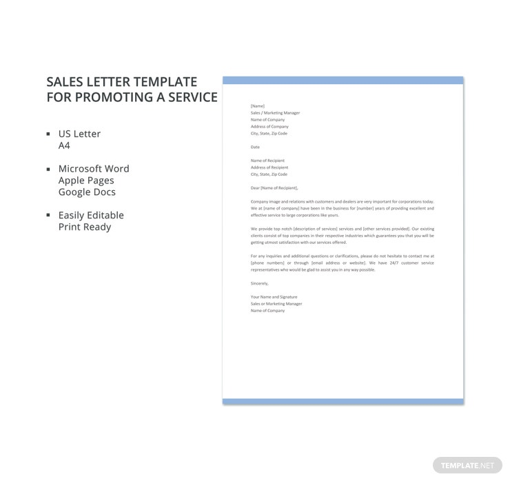 sales letter template for promoting a service 740x698