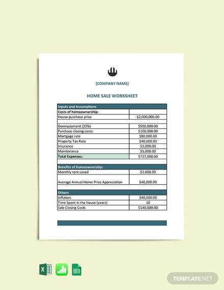 Home Sale Worksheet cover