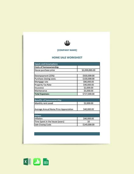 Home Sale Worksheet Template