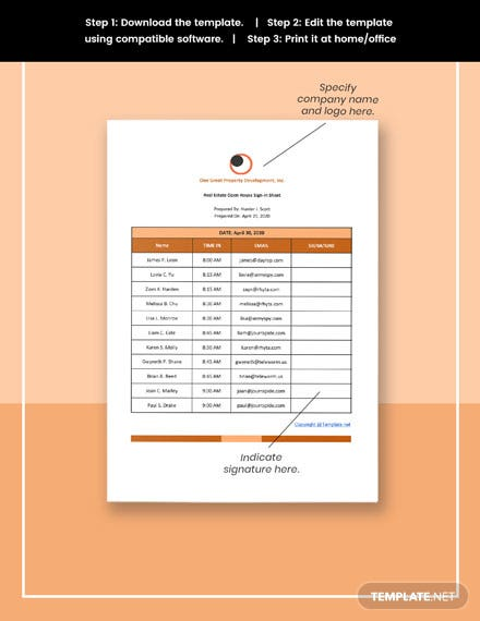Free Simple Real Estate Open House Signin Sheet Template format