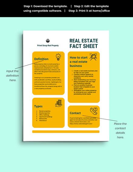 Real Estate Fact Sheet guide