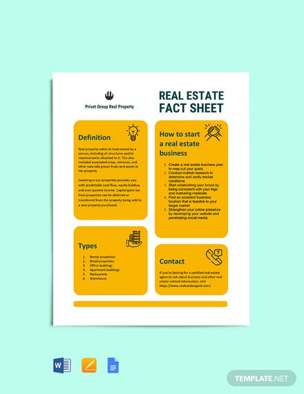 Real Estate Fact Sheet cover
