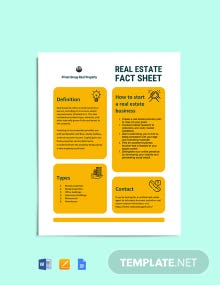 Real Estate Fact Sheet Template