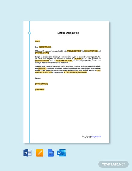 Free Sample Sales Letter Template