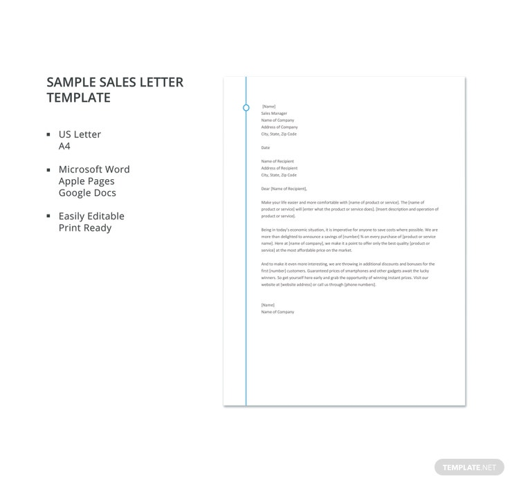 sample sales letter template 740x698