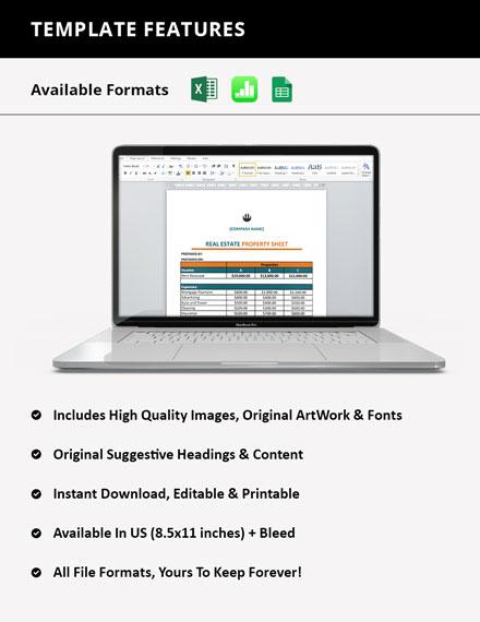 Real Estate Property Sheet instruction