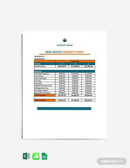 Real Estate Property Sheet cover