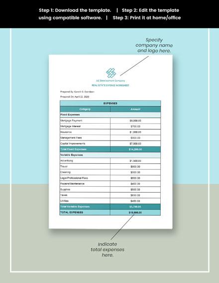 Real Estate Expense Worksheet Template format