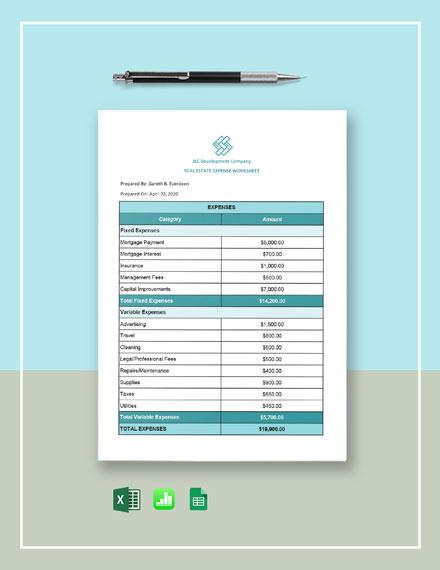 Real Estate Expense Worksheet Template