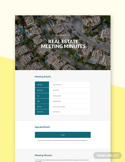 Free Sample Real Estate Meeting Minutes Template