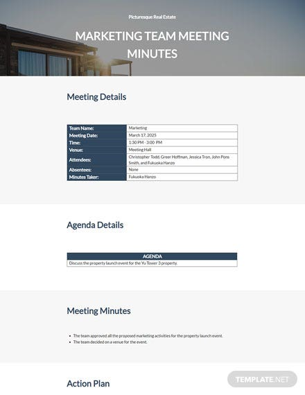 Free Simple Real Estate Meeting Minutes Template
