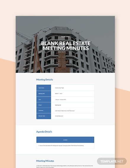 Free Blank Real Estate Meeting Minutes Template
