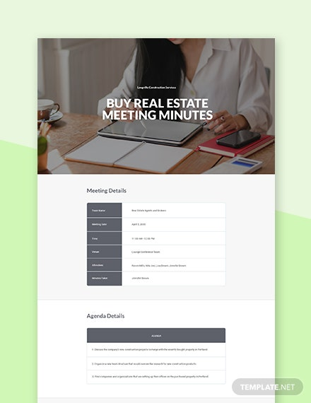 Buy Real Estate Meeting Minutes Template