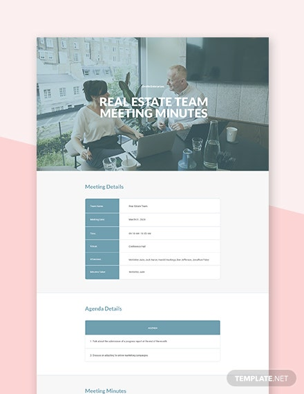 Real Estate Team Meeting Minutes Template