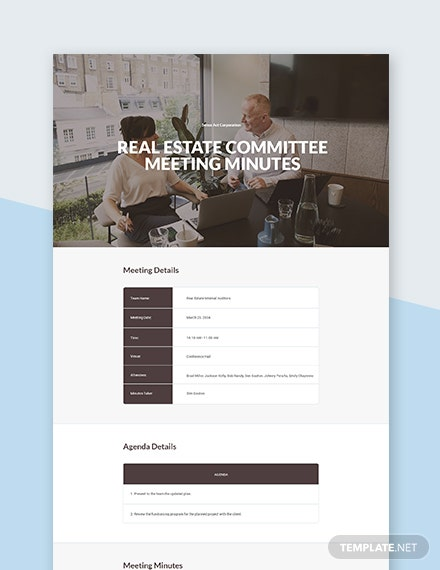 Real Estate Committee Meeting Minutes Template