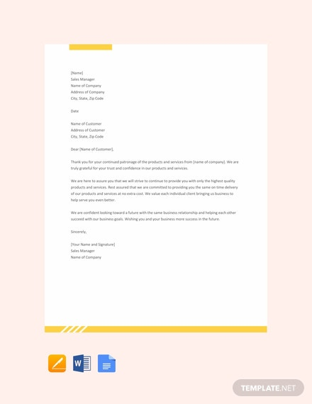 Free Sample Sales Letter To Customers Template Download 1440