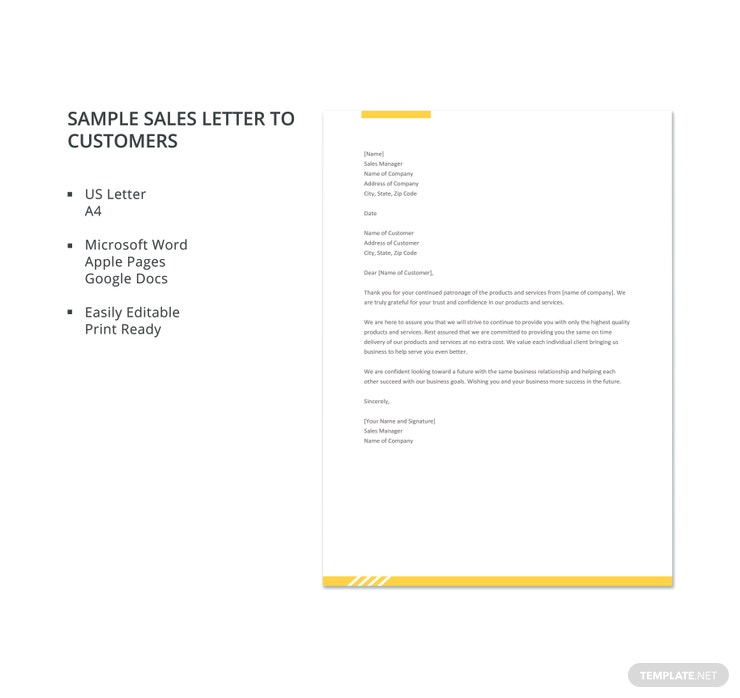 sample sales letter to customers 740x698