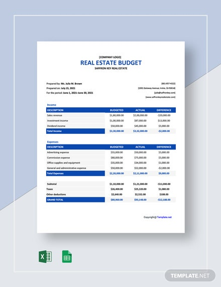 Free Simple Real Estate Budget Template