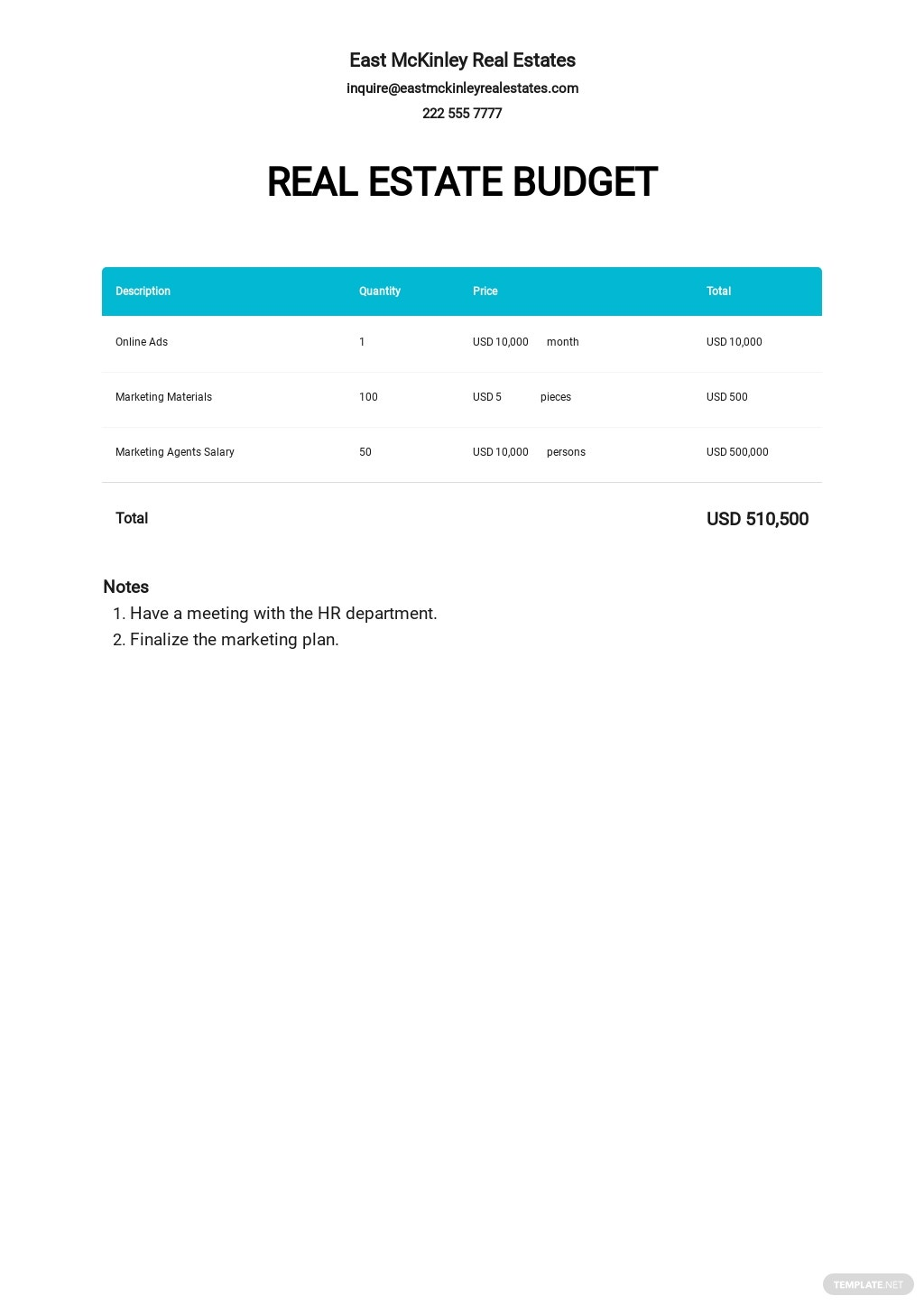Blank Real Estate Budget Template