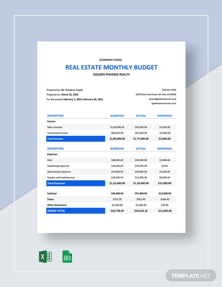 Real Estate Monthly Budget Template