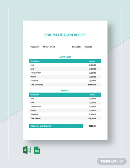 Real Estate Agent Budget Template