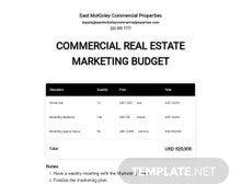 Commercial Real Estate Marketing Budget Template