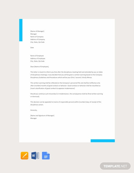 Free Disciplinary Action Letter